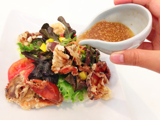 fried crab salad with japanese sauce