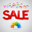 sale poster, red heading with shopping bags and percent discount
