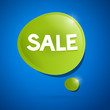 Sale icon - green label on blue background, vector