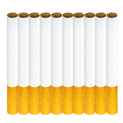 Group of cigarettes isolated over white background