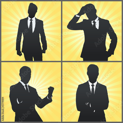 Set of Silhouette business man.