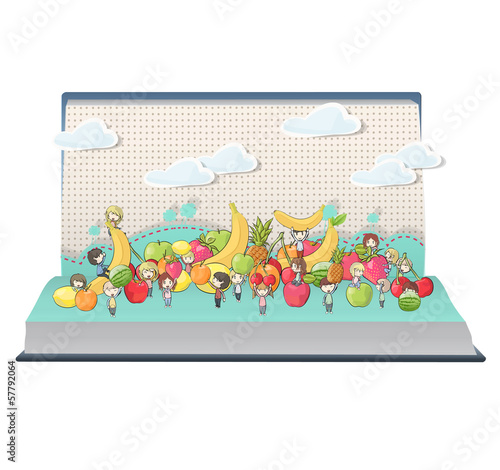 kids around several fruits on book