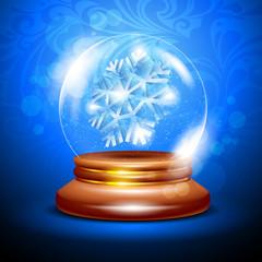 Christmas snow globe with a snowflake