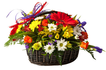 Beautiful bouquet of colorful spring flower in a basket.