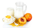 Fresh dairy products with peaches isolated on white