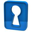 Blue key hole icon