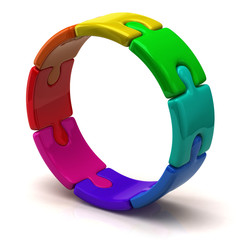 Colorful puzzle ring