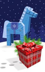 Лошадь синяя деревянная и подарок. Векторная  иллюстрация