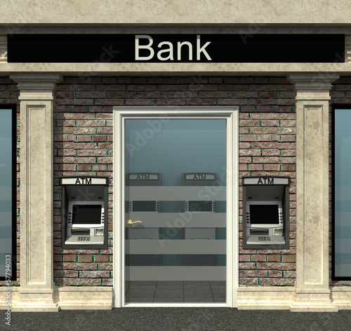 facade of a bank with automated teller machine