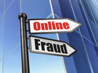 Security concept: sign Online Fraud on Building background