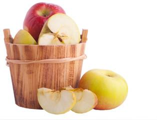 Apples in wooden bucket