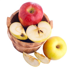 Apples in wooden bucket