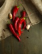 Red hot chili peppers  and garlic,