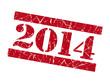 2014 grunge red stencil font sign