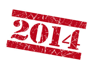 2014 grunge red stencil font sign