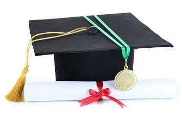 Medal for achievement in education with diploma and hat