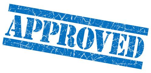 Approved grunge damaged blue square stamp