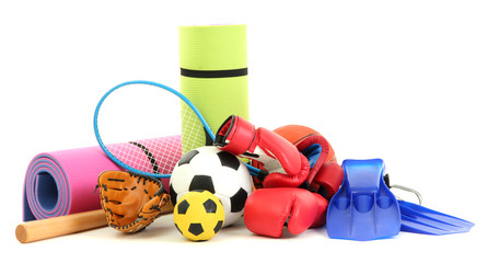 Sport equipment isolated on white