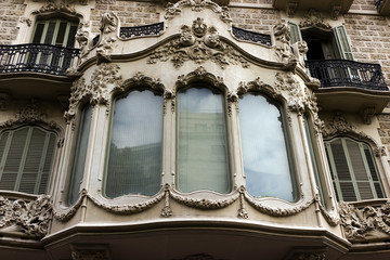 facade house window and balcony of Barcelona. Spain