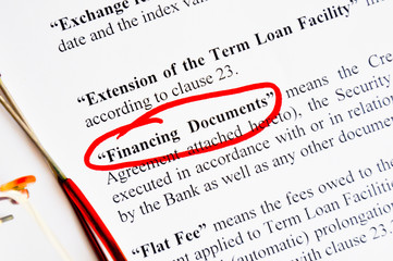 financing documents highlighted on text