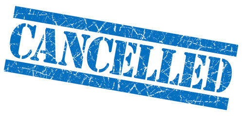 Cancelled grunge blue square rubber stamp