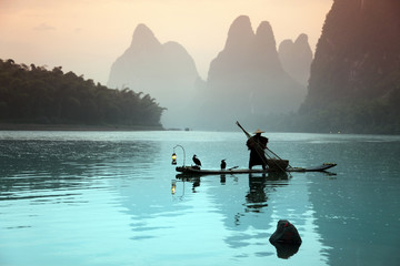 Chinese man fishing with cormorants birds