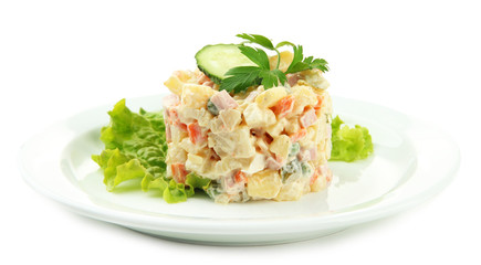Russian traditional salad Olivier, isolated on white