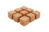 Cubes of sugar with cinnamon isolated