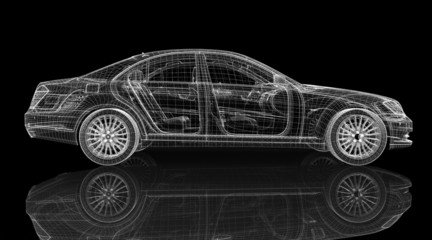 Car 3D model body structure, wire model