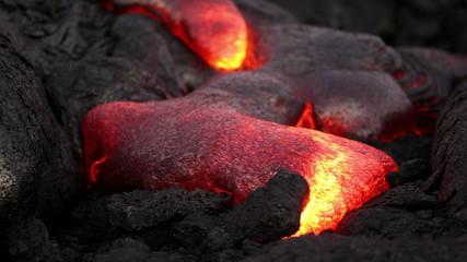 Molten lava flow close-up at Kilauea volcano, Hawaii
