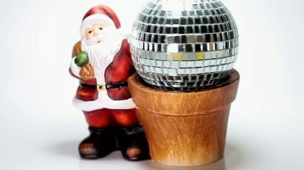 Santa claus and a rotating glass ball