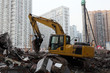 Yellow excavator in the city of Shanghai, China