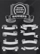 Banner and ribbon set on black background. Vintage retro design