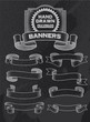 Banners and ribbons on black background. Vintage retro design