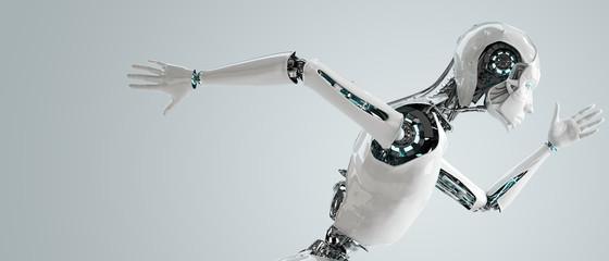robot android women running