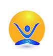 Yoga and sun logo vector