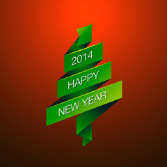 Happy New Year with fur-tree, vector Eps10 image.