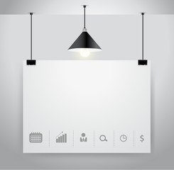 Vector poster on wall and lamp