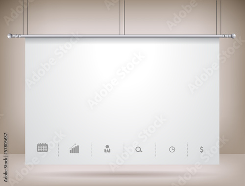 Vector projector screen on wall