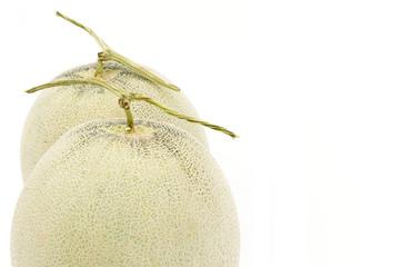 Cantaloupes melon on a white background