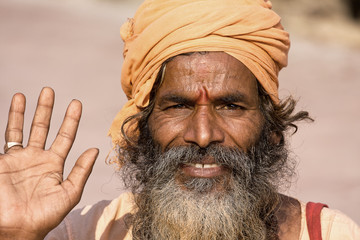 Indian sadhu (holy man). Devprayag, Uttarakhand, India.