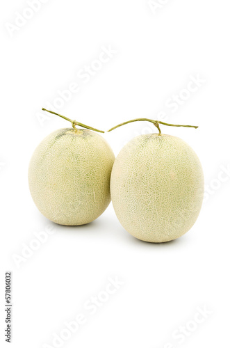 Cantaloupes melon on a white background