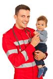 Happy paramedic and baby boy