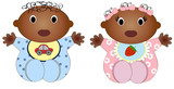 Twin african Baby Boy And Girl.Vector illustration Two children