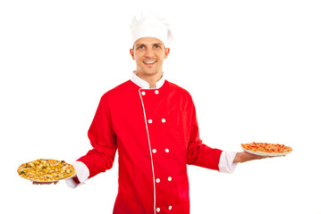Man showing pizza