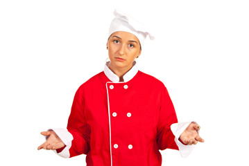 Sad chef woman questioning