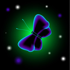EPS10 vector illustration. Fantastic luminescent butterfly