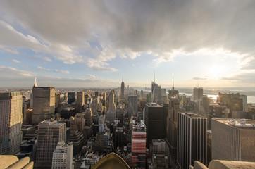 Panoramic fisheye view of Manhattan Skyline, New York City Aeria