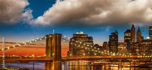Amazing New York Cityscape - Skyscrapers and Brooklyn Bridge at - 57806488