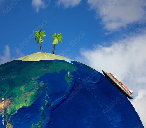 Island on blue background